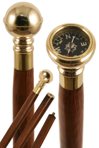 Arts & Crafts Collectors Brass Compass Walking Stick