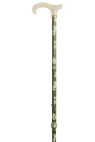 Petite Adjustable Derby Walking Stick - Slate Grey Leaves