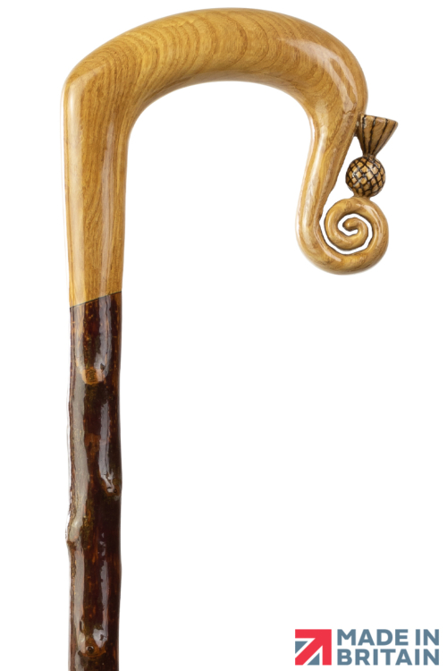 Handmade Oak Shepherd's Crook with Thistle Nose on Blackthorn Shaft