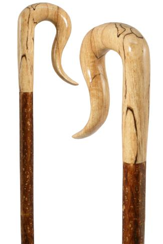 Spalted Beech Leg Cleek on Hazel Shaft with Hand Carved Handle