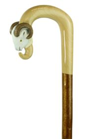 Hand-crafted Ram's Head Shepherds Crook on Hazel Shaft