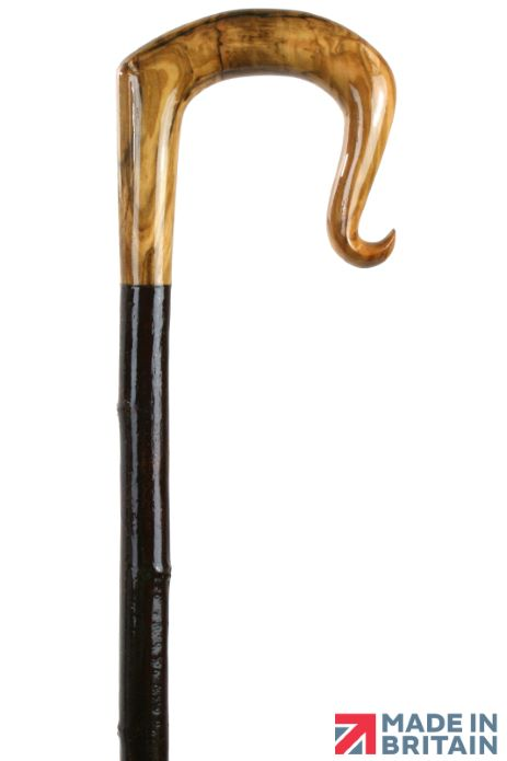 Handmade Olive Wood Shepherd's Crook with Curl Nose on Spanish Chestnut