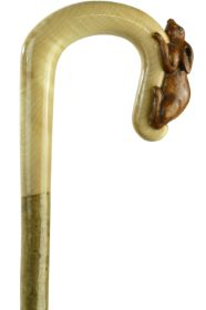 Hand-crafted Moongazing Hare Shepherds Crook on a Hazel Shaft