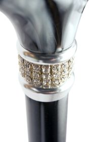 Mayfair Crystal Collar Folding Derby Cane in Black with Quilted Pouch