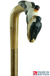 Hand-crafted Swallows Shepherds Crook on a Hazel Shaft