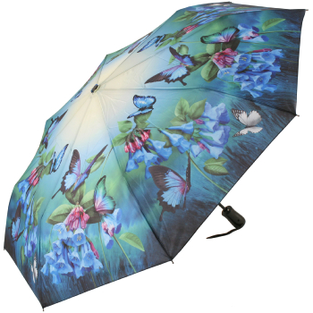Galleria Art Print Auto Open & Close Folding Umbrella - Bluebells & Butterflies