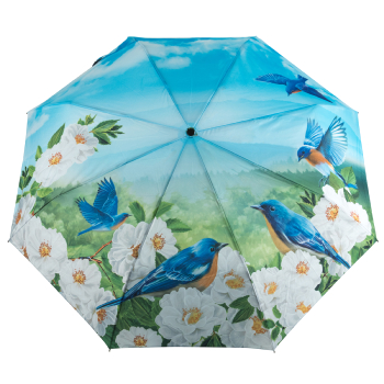 Galleria Art Print Auto Open & Close Folding Umbrella - Bluebirds