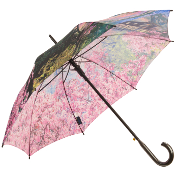 Galleria All-Over Art Print Walking Length Umbrella - Cherry Blossoms