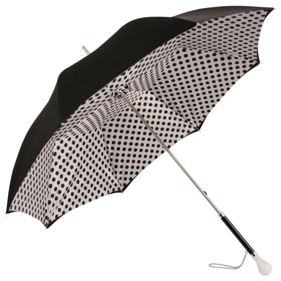 Fantasia Black & White Polka Dot Umbrella with Luxury Ball Handle by Pasotti