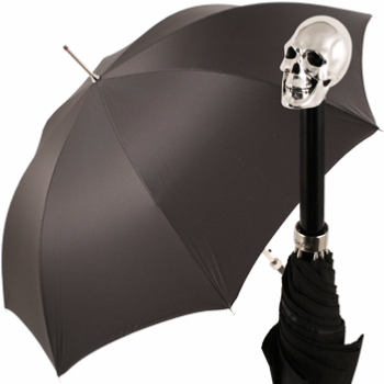 Luxury Gents Umbrella with Chrome Skull Handle by Pasotti