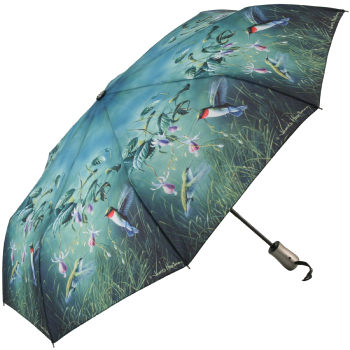 Hautman Brothers Art Print Auto Open & Close Folding Umbrella - Humming Birds