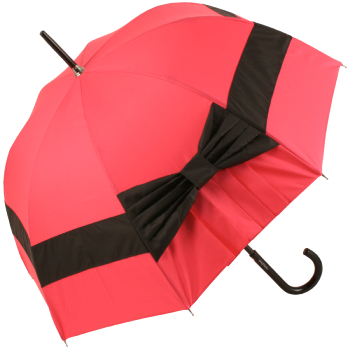 Pleated Bow Umbrella in Magenta and Black by Chantal Thomass