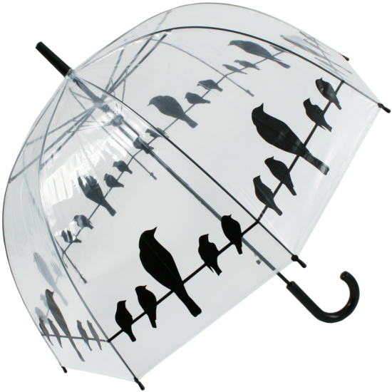 Birds on Wire Clear Dome Umbrella
