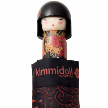 Kimmidoll 'Tatsuyo I' Folding Umbrella - Black & Orange Oriental Floral