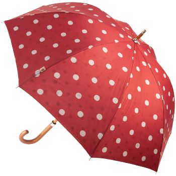 M&P Double Canopy Polkadot Walking Length Umbrella - Wine