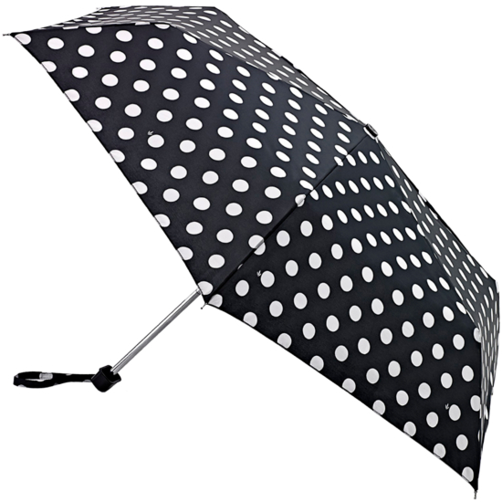 Fulton Miniflat Lightweight Folding Umbrella - White Spot