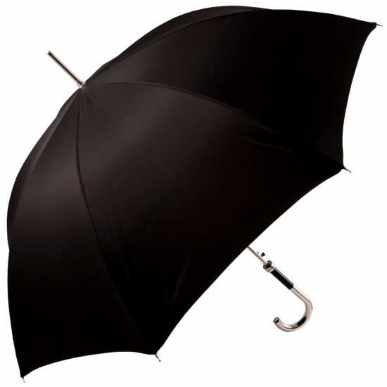 Luxury Gents Black Umbrella with Chrome Handle by Pasotti