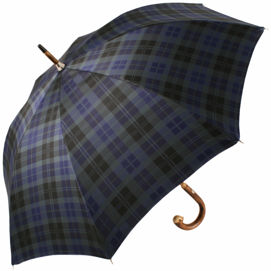 Luxury Gents Celtic Check Umbrella with One-Piece Coppice Chestnut Handle & Shaft by Pasotti