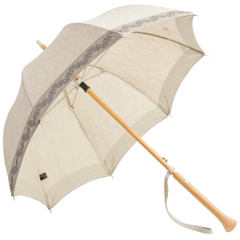 Olivia - UVP Beige Parasol with Floral Woven Band by Pierre Vaux