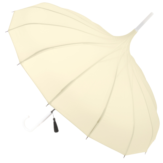 Classic Pagoda Umbrella from Soake - Cream with White Handle