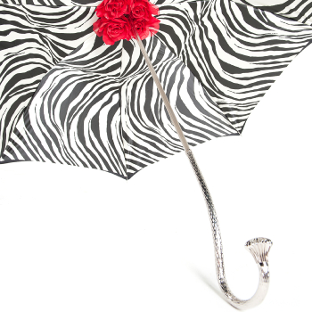 Exclusive Luxury Zebra Red Rose Double Canopy Umbrella by Pasotti