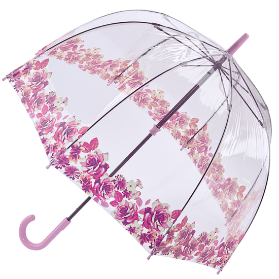 Fulton Birdcage Clear Dome Umbrella - Crimson Floret