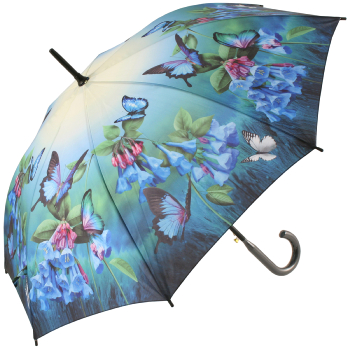 Galleria Art Print Walking Length Umbrella - Bluebells & Butterflies