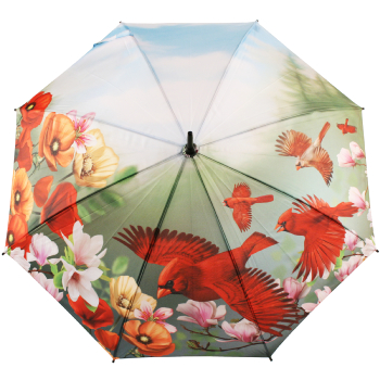 Galleria All Over Art Print Walking Length Umbrella - Cardinals