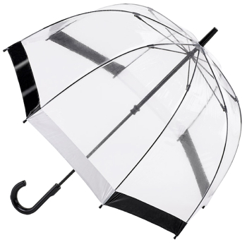 Fulton Birdcage Clear Dome Umbrella - Black/White Trim