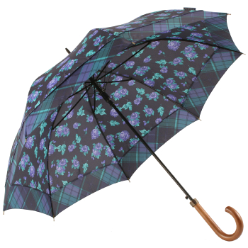 Bonnie Floral Automatic Open Umbrella - Tartan Border