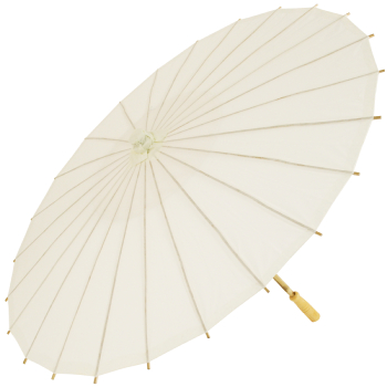 Chinese Paper and Bamboo Parasol - Ivory