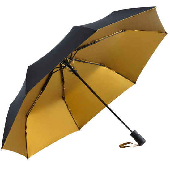 UV Protective SPF50+ Two-Tone Automatic Opening Folding Umbrella - Black & Gold