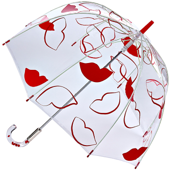 Lulu Guinness Birdcage - Fun Oversized Lips - PVC Dome Umbrella
