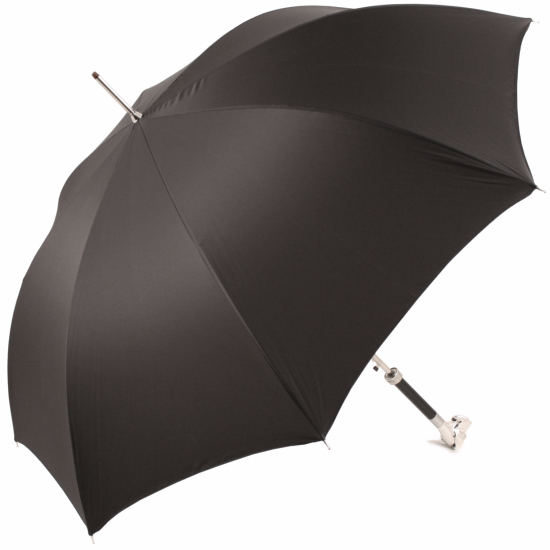 Luxury Gents Umbrella with Chrome Hound Handle by Pasotti