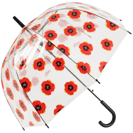 Soake Auto Clear Dome Umbrella - Poppy