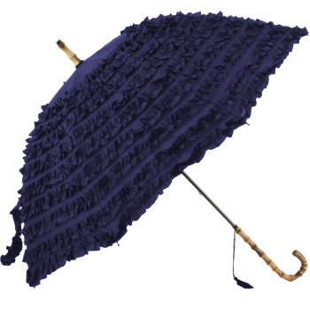 FiFi Frilly Walking Length Umbrella - Navy Blue
