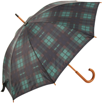Tartan Walking Length Umbrella - Green/Navy (as Black Watch)