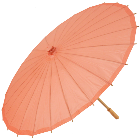 Chinese Paper and Bamboo Parasol - Coral