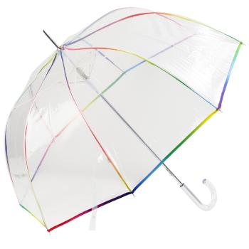 Clear Dome Umbrella with Spectrum Multicolour Trim