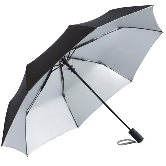 UV Protective SPF50+ Two-Tone Automatic Opening Folding Umbrella - Black & Silver