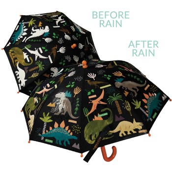 Colour Changing Childrens Umbrella - Dinosaurs - Black