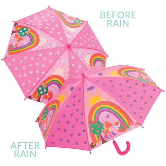 Colour Changing Childrens Umbrella - Woodland Animals