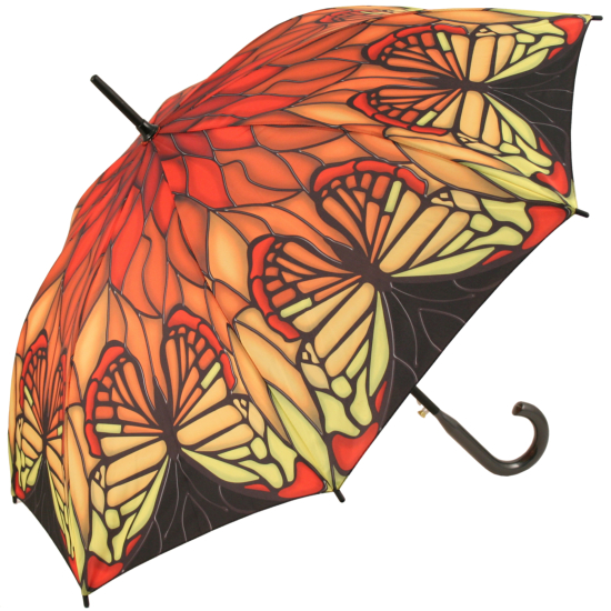 Galleria Art Print Walking Length Umbrella - Stained Glass Red Butterfly