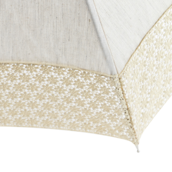 Leonie UVP Beige Parasol with Beige Daisy Border by Pierre Vaux