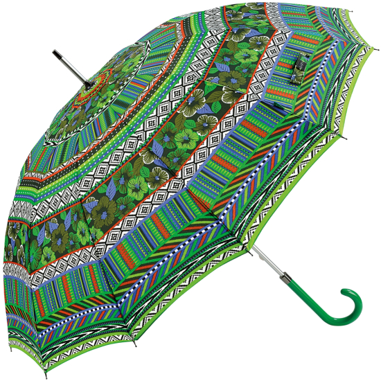 12 Rib New World Print Walking Length Umbrella - Green