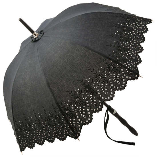 Amelie with Ondulé Handle - Noir - UVP Black Embroidery Anglaise Parasol by Pierre Vaux