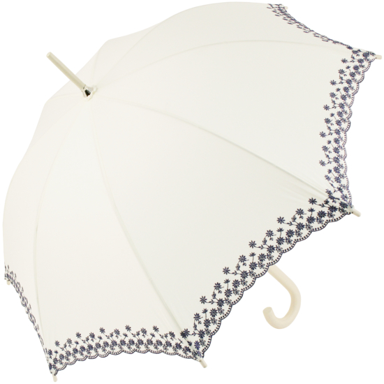 Soake Ivory Parasol with Navy Blue Embroidered Edge