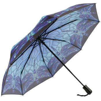 Galleria Art Print Auto Open & Close Folding Umbrella - Stained Glass Blue Dragonfly