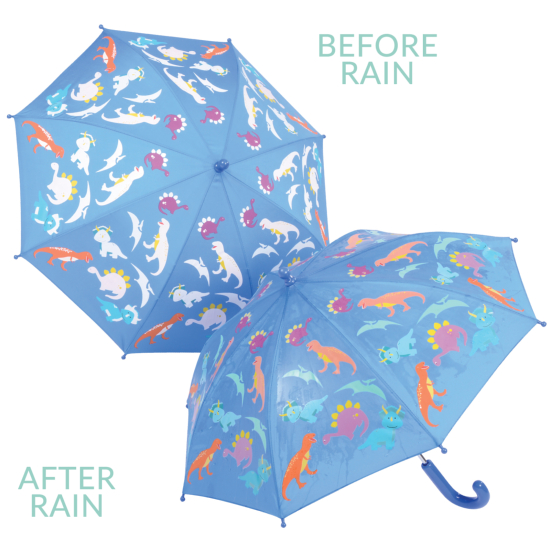 Colour Changing Childrens Umbrella - Dinosaurs - Blue