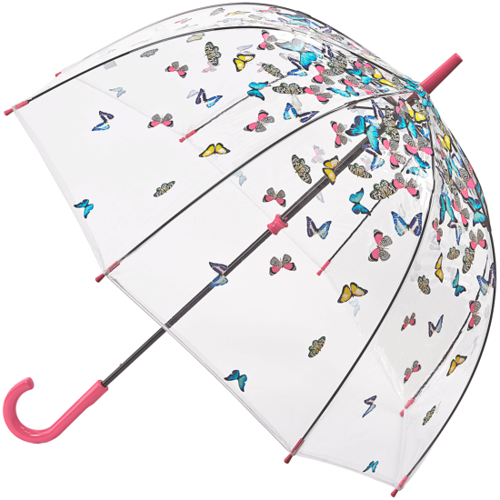 Fulton Birdcage Clear Dome Umbrella - Raining Butterflies